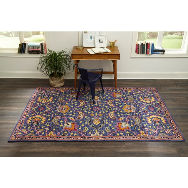 Textile Ibiza Blue Hand Tufted Area Rug 6' X 9' For Sale - Image 7 of 8