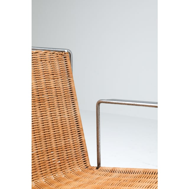 Mid-Century Modern Rattan and Steel Armchairs Gelderland, 1964 - a Pair For Sale - Image 3 of 13