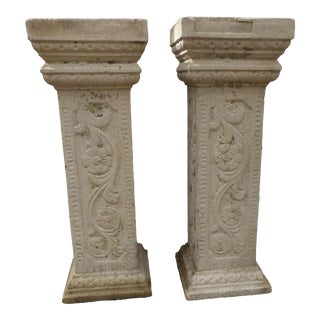Vintage Tall Cast Cement Garden Pedestals- a Pair For Sale