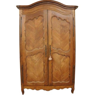 Country French Provincial Louis XV Walnut Bonnet Top Armoire Wardrobe Cabinet For Sale