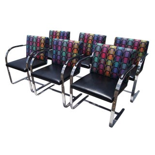 Vintage Mid Century Mies Van Der Rohe Style Flat Bar Brno Arm Chairs- Set of 6 For Sale