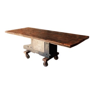 Boxcar Wood Topped Factory Base Table For Sale