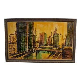 Vintage Chicago River and Bridges Painting Signed by Lome For Sale