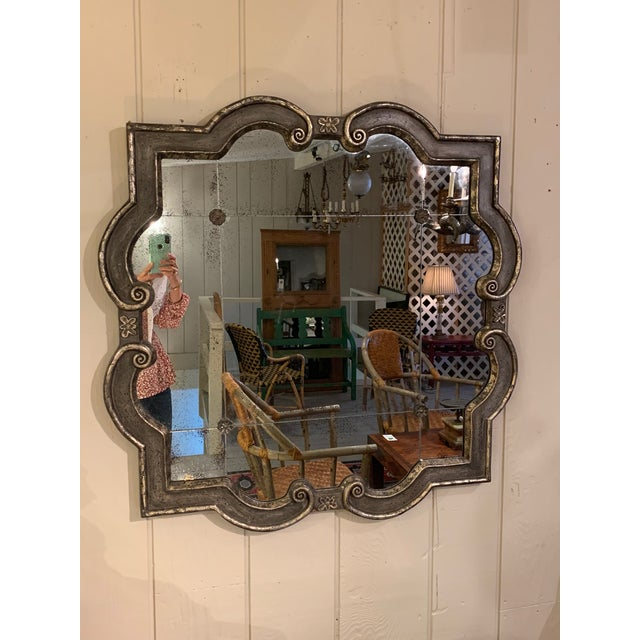 Black and Silvered Ghosted Aged Mirrors -A Pair For Sale - Image 9 of 10