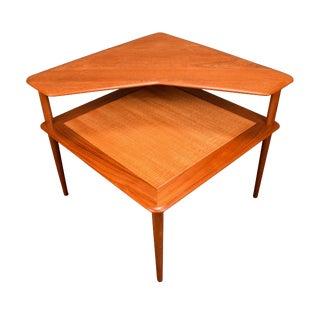 """1960's Vintage Peter Hvidt Danish """"Minerva"""" Corner Teak Table For Sale"""