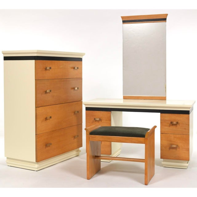 Very Rare Donald Deskey AMODEC Chest of Drawers, Vanity with Mirror and Bench Circa 1934. This Set was completely restored...
