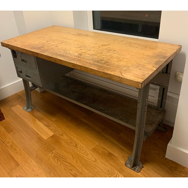 Metal Industrial Lyon Aurora Ill Workbench For Sale - Image 7 of 10