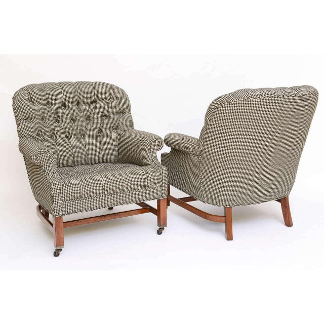 Beefy Edwardian Style Button Tufted Club Chairs in Houndstooth - Image 3 of 11