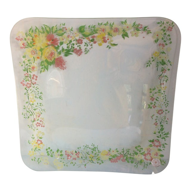 Glass Dorothy Thorpe California Wild Flower Square Serving Platter For Sale