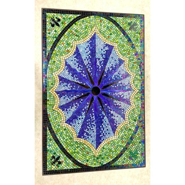 2010s Boho Chic Mosaic Fleur-De-Lis Sunburst Tile Top Table For Sale - Image 5 of 13