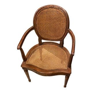 Antique Louis XVI Double Cane Back Arm Chair For Sale