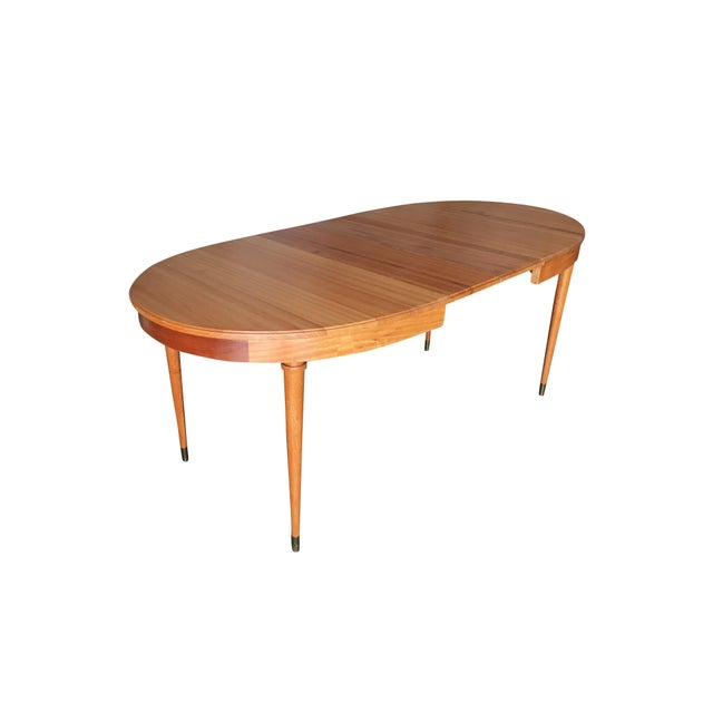 Brass Mid-Century Walnut Dining Room Set Table, Chairs, Buffet - 8 Pc. Set For Sale - Image 7 of 10