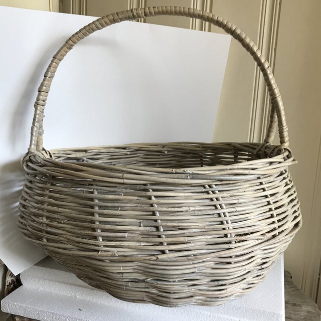 Wood Extra Large Wood Woven Decor Basket For Sale - Image 7 of 11