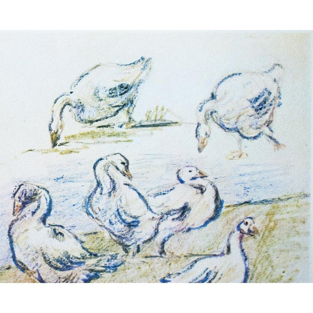 Cottage Style Hungarian Geese Lithograph by Alfred Sisley, 1959 For Sale - Image 4 of 11