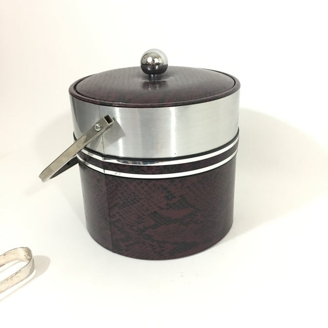 1960s George Briard Faux Red Snakeskin Ice Bucket For Sale - Image 5 of 10