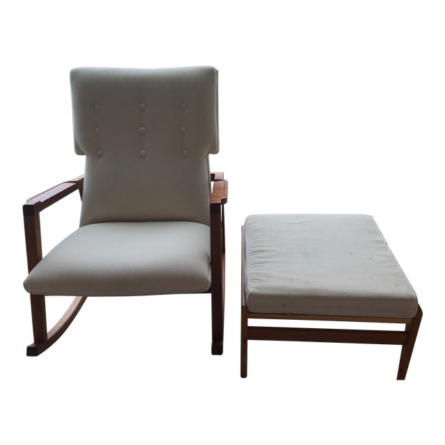 Design Within Reach Jens Risom Rocker And Ottoman Chairish