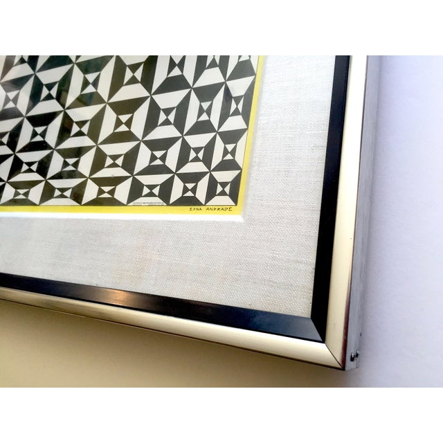 """Edna Andrade Rare Vintage 1969 Mid Century Modern Framed Op Art Lithograph Print """" Black Diamond """" 1967 For Sale - Image 12 of 13"""