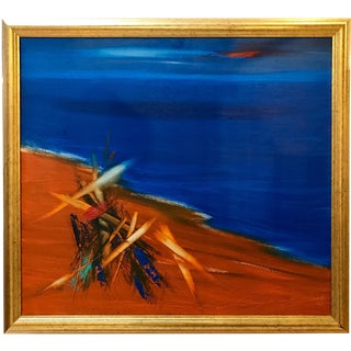 """2001 Abstract""""On the Seashore"""" Oil Painting on Canvas by Samuel Mazoutian"""