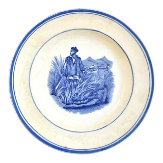Antique French Blue & White Sugar Canes Transferware Plate For Sale
