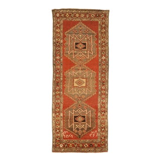 Persian Azarbaijan Area Rug With Tribal Design on an Orange Field For Sale