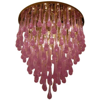 Toso Large Amethyst Glass Teardrop Chandelier For Sale