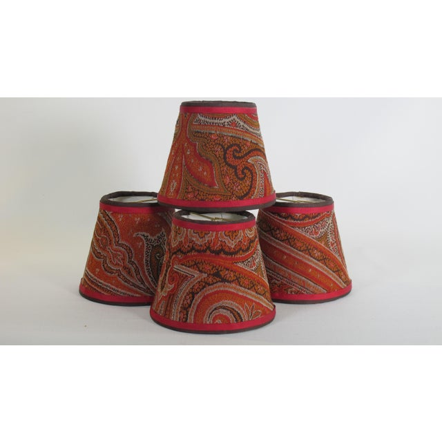 English Antique Paisley Lampshades - Set of 4 For Sale - Image 3 of 3