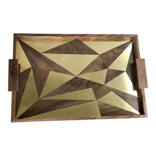Walnut and Brass Tray by MarGian Studio For Sale