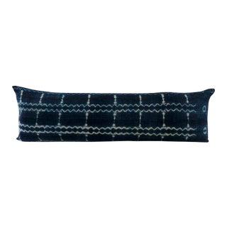 1960s African Indigo Mudcloth Body Lumbar Pillow For Sale