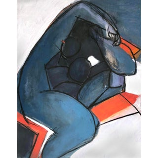 Contemporary Very Dark Blue Nude Painting For Sale