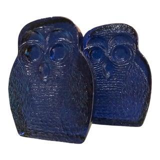 1960s Blenko Cobalt Blue Glass Bookends Owl Midcentury Modern Joel Myers Usa For Sale