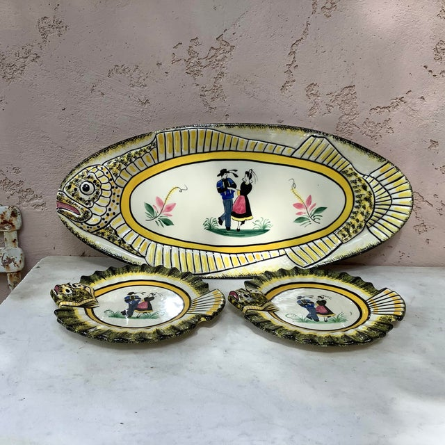 1940s French Faience Fish Platter Henriot Quimper For Sale In Austin - Image 6 of 8