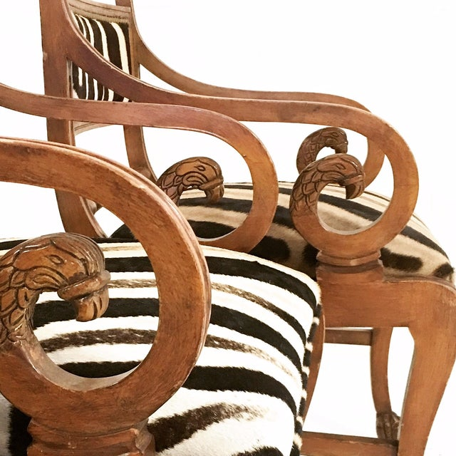 Vintage Carved Zebra Armchairs - a Pair For Sale - Image 9 of 10