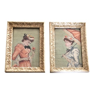 Gallery Wall Collection 2 Circa 1950's Paris School Female Figure Needlepoints a Pair For Sale