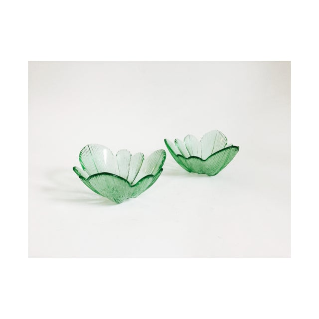 1960s Vintage Green Pressed Glass Flower Bowls - Set of 2 For Sale - Image 5 of 5