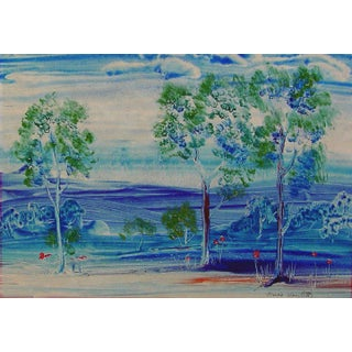 Bold Blue Landscape Painting by Marie Hamilett For Sale