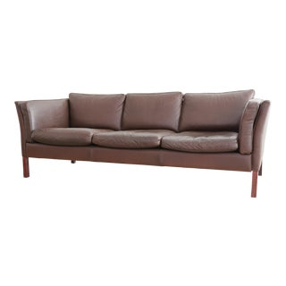 1970s Mid-Century Danish Modern Brown Leather Stouby Sofa