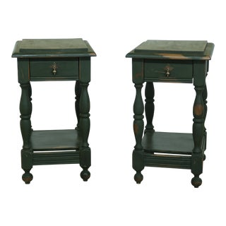 Primitive Country Green 1 Drawer Rustic Painted Nightstands - a Pair For Sale