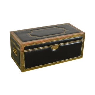Campaign Style Vintage Brass & Black Leather Wrapped Trunk For Sale