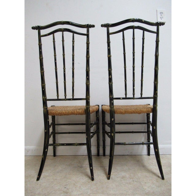 1970s Vintage Faux Painted Bamboo Rush Seat Side Chair - A Pair For Sale - Image 5 of 10