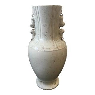 Chinese White Glaze Foo Dog Vase