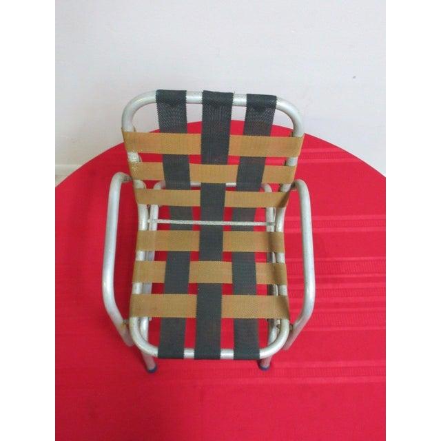 Vintage Mid Century Child's Aluminum Glider Porch Patio Chair - Image 3 of 7