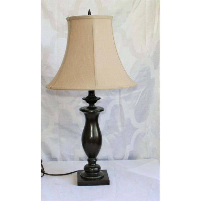 20th Century Stiffel Brown Metal Square Base Table Lamp With Shade