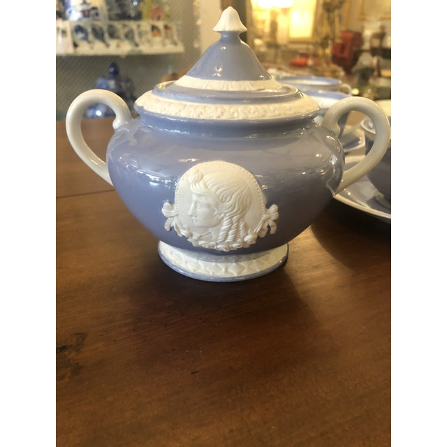 Vintage Musterschultz Cameo Tea Set in Powder Blue and White -Set of 17 For Sale - Image 9 of 13