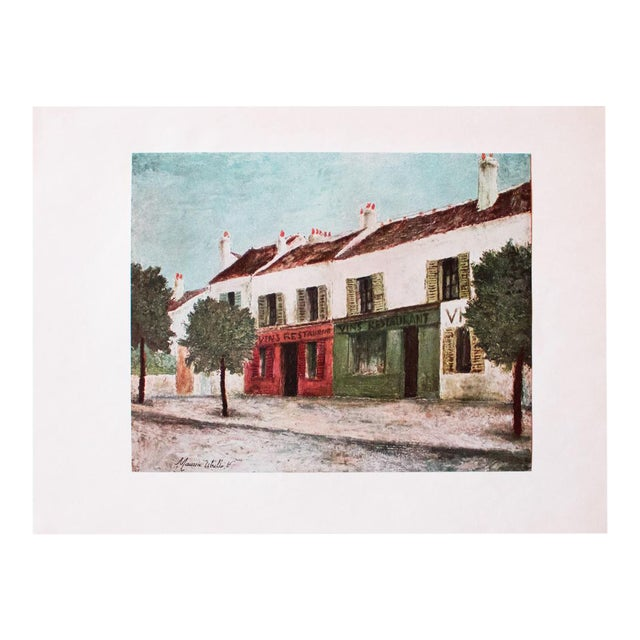 """1950s Maurice Utrillo, """"Bistros in a Suburb"""" First Edition Lithograph For Sale"""