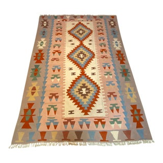 Vintage Handwoven Wool Flat Weave Fringed Turkish Aztec Style Rug For Sale