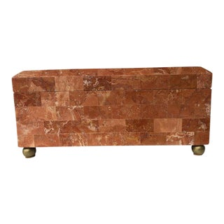 1980's Art Deco Maitland-Smith Tessellated Stone Box For Sale