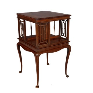 English Mahogany Rotating Bookcase Side Table For Sale