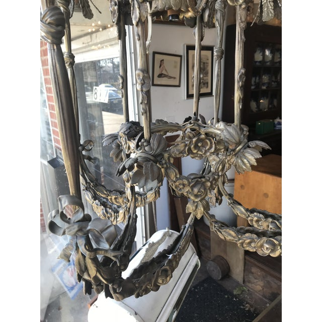 Floral Appliqué Antique French Brass Chandelier For Sale - Image 4 of 13