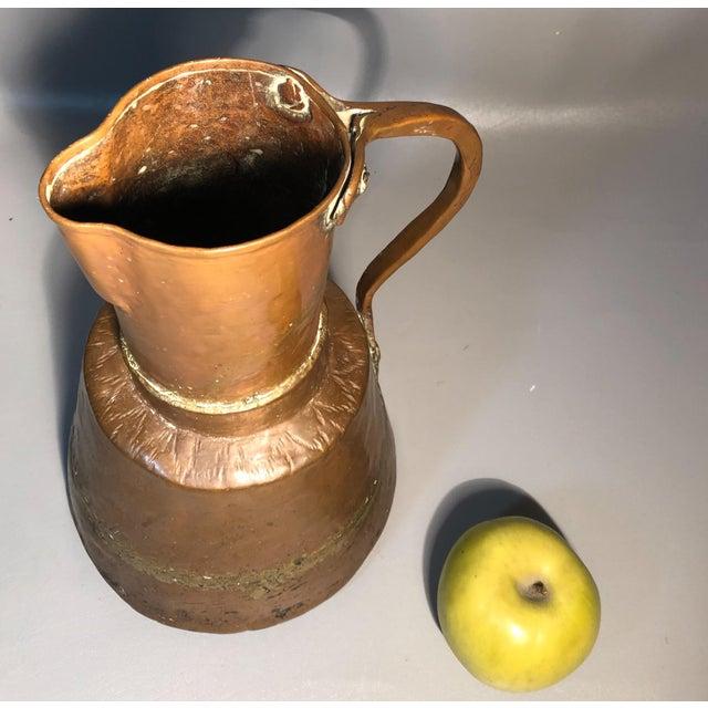 Primitive 19c Pitcher Hand Hammered Copper Brass Large Moonshine Still Jug Kettle Pot Vase For Sale - Image 9 of 10