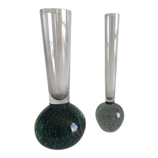 Mid Century Modern Controlled Bubble Stem Vases by Knobler, Czechoslovakia - a Pair For Sale